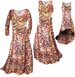 SALE! Salmon Red Ornate With Gold Metallic Slinky Print Plus Size & Supersize Standard or Cascading A-Line or Princess Cut Dresses & Shirts, Jackets 6x