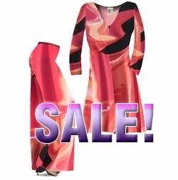 SOLD OUT! FINAL SALE! Salmon & Tan Abstract Print Slinky Plus Size Shirt or Plus Size Palazzo Pants 1x