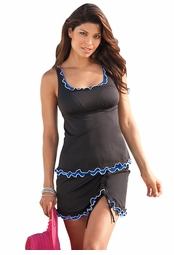 SALE! Sapphire & Black Ruffle Skirtini Set Plus Size Swimwear 5x