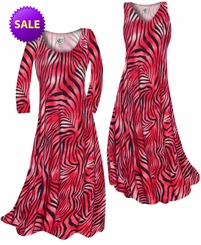 CLEARANCE! Scarlet Red Ombre Zebra Stripes Slinky Print Plus Size A-Line Dress 0x