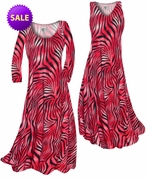 SALE! Scarlet Red Ombre Zebra Stripes Slinky Print Plus Size & Supersize Standard or Cascading A-Line or Princess Cut Dresses 1x