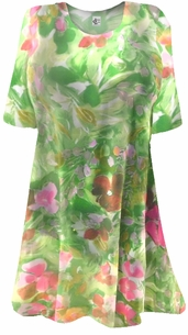 Semi-Sheer Beautiful Colorful Green & Pink Floral Print Plus Size Coverup Tops or Dresses / Swimsuit Coverups Plus Size & Supersize 1x 2x 3x 4x 5x 6x 7x 8x