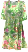 CLEARANCE! Semi-Sheer Beautiful Colorful Green & Pink Floral Print Plus Size Coverup Tops or Swimsuit Coverups Plus Size & Supersize 4x 5x 6x