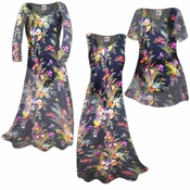 SALE! Semi-Sheer Black Floral Print Ribbed Crepe Plus Size Coverup Dress 0x