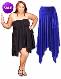 CLEARANCE! Sexy Slinky & Cotton Handkerchief  High-Low Dresses Tops & Skirts! Plus Size & Supersize 2x 4x 5x