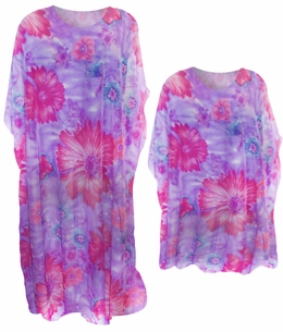 Sheer Pink & Purple Plus Size & Supersize Caftan Dress or Shirt / Coverup 1x to 6x
