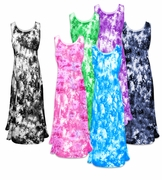 CLEARANCE! Shimmering Pastel Tie Dye Crush Velvet Plus Size & Supersize Princess Cut Tank Dresses 6x 8x