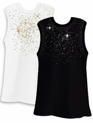 SALE! Silver or Gold Scatter Rhinestud on White or Black Plus Size Tank Top 2x 3x 4x