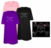 CLEARANCE! Skull & Crossbones With Pink Bow Sparkly Rhinestuds Plus Size & Supersize T-Shirts 2xl 1x