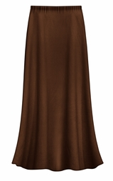 CLEARANCE! Solid Brown Color Slinky Plus Size Supersize Skirt 1x 2x