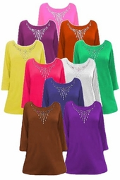 SALE! Solid Color Rhinestone Neckline Plus Size & Supersize Customizable Shirts XL 0x 1x 2x 3x 4x 5x 6x 7x 8x