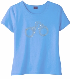 SALE! Sparkly Rhinestud Handcuffs on Light Blue Round Neck Plus Size Petite T-Shirt 2x 3x