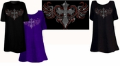 SALE! Sparkly Rhinestud Rhinestone Colorful Cross Heart Plus Size & Supersize T-Shirts 2xl 4xl 6xl