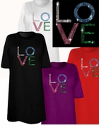 "SALE! Sparkly Rhinestud Rhinestone ""LO VE"" Plus Size & Supersize Love T-Shirts 4xl"