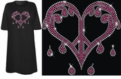 SALE! Sparkly Rhinestud Rhinestone Pink & Silver Dripping Peace Heart Plus Size & Supersize T-Shirts 4xl