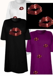 SALE!!!!!!!!! Sparkly Rhinestud Rhinestone Red Lips Plus Size & Supersize T-Shirts XL