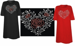 SALE! Sparkly Rhinestud Rhinestone Red & Silver Rose Heart Ivy Plus Size & Supersize T-Shirts 3xl