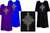 SALE! Sparkly Rhinestud Rhinestone Silver & Gold Cross Plus Size & Supersize T-Shirts 4xl