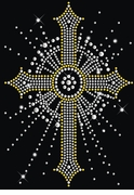 Sparkly Rhinestud Rhinestone Silver & Gold Cross Plus Size & Supersize T-Shirts S M L XL 2x 3x 4x 5x 6x 7x 8x 9x (All Colors)