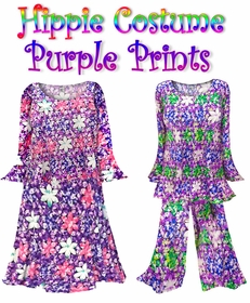 SALE!!! -PURPLE FLORAL Certain Sizes ONLY!!  - Plus Size Hippie Costume Floral Print - 60's Style Retro Moo-Moo Dress or Top & Bell-Bottom Pant Set Plus Size & Supersize Hippie Halloween Costume Kit 0x 1x 2x 3x 4x 5x 6x 7x 8x 9x