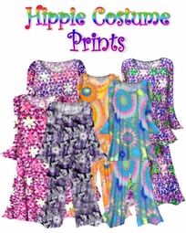 CLEARANCE! Plus Size Hippie Costume Print - 60's Style Retro Moo-Moo Dress or Top & Bell-Bottom Pant Set Plus Size & Supersize Hippie Halloween Costume Kit 1x 2x 5x 6x