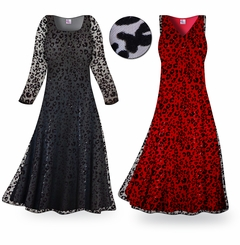 CLEARANCE! Stunning! Black Sheer Sparkling Leopard Velvet Lace Plus Size & Super Size Dress 2x