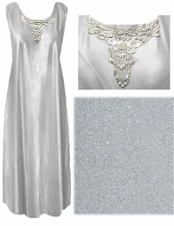 SALE! FINAL SALE! Stunning Off-White/Gray  & Silver OR Black Metallic Dress Plus Size Tank Dress With Beaded Collar 3x