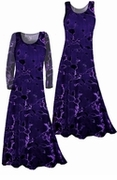 SALE! Stunning! Sheer Black & Purple Velvety Flocked Plus Size Dresses, Tops, Skirts 0x 1x 7x