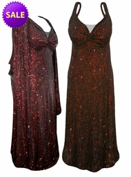 FINAL SALE! 2-Piece Stunning Sparkly Red & Orange Dots Plus Size & SuperSize Princess Seam Dress Set 4x ONLY