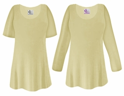 CLEARANCE!  Tan Slinky Plus Size & Supersize Shirt 0x 2x