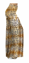 CLEARANCE! Tan With Gold Metallic Little Leopard Spots Horizontal Slinky Print Special Order Plus Size & Supersize Pants 0x