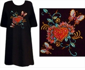 SOLD OUT! SALE! Tattoo Prints!  Heart & Butterflies Plus Size & Supersize T-Shirts 5xl