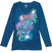 SALE! Teal With Stencil Flowers Glittery Floral Long Sleeve Plus Size T-Shirt 3x 4x 5x