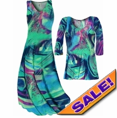 CLEARANCE! Teal Green and Purple Wild Print Slinky Plus Size & Supersize Dresses Tunic Tops & Pants - 1x 3x