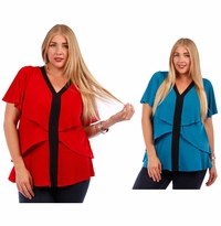 SALE! Teal or Red Plus Size Layered Ruffled Slinky Top 4x 5x 6x