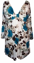 FINAL SALE! Teal Roses Beige Crinkle Sexy Low-Cut Flutter Sleeve  2x