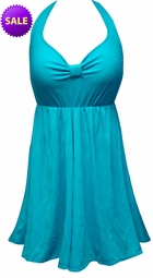 SALE! Teal With Lines Print Plus Size Halter SwimDress Swimwear Swimsuit 1x