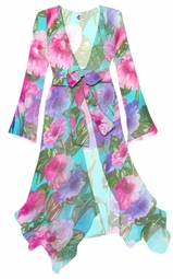 SALE! Teal With Pink and Purple Flowers Print Sheer Blouse Swimsuit Coverup Plus Size & Supersize 2x 3x