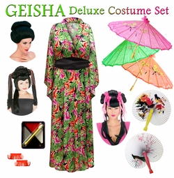 SALE! Tropical Print Geisha Costume Plus Size & Supersize 0x 1x 2x 3x 4x 5x 6x 7x 8x 9x