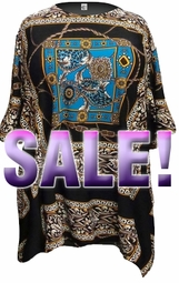 SOLD OUT! SALE! Turquoise Box Print With Rope Print Slinky Plus Size Supersize Tunic Top 7x