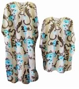 LAST ONE! Turquoise & Brown Floral Print Poly/Satin Plus Size Caftan Dress or Shirt 1x to 6x