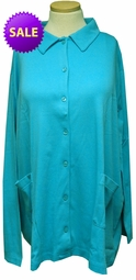 SALE! Turquoise Cotton Blend Button Up Long Sleeve Plus Size Top 4x