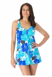 SALE! Vibrant Blue Floral Skirted Plus Size Swimsuit 3x 5x