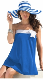SOLD OUT! Vivid Blue With Bow Plus Size Swimdress 3x