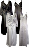 CLEARANCE! Wedding Night Lace Trim White Black Pink Navy Gold Plus Size & Supersize Satin Robe and Nightgown Set or Separates 0x 1x 2x