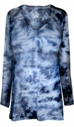SALE! White Blue Tie Dye V Neck Long Sleeve Plus Size Shirt 5XL