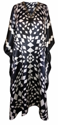 SALE! Plus Size White Diamond Geometric Print Long Caftan Dress or Shirt 1x-6x