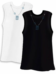 SALE! Pretty Shiny Sparkly Rhinestuds Peace Blue Neckline White or Black Plus Size Tank Top 2x 3x 4x