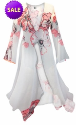 SALE! White With Pink Tea Roses Print Sheer Blouse Swimsuit Coverup Plus Size & Supersize 0x