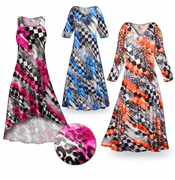 CLEARANCE! Wild Checkers Slinky Print Plus Size & Supersize Standard or Cascading A-Line or Princess Cut Dresses & Shirts 2x 4x 5x 6x